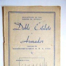 Radios Anciennes: DESCRIPCION DE LOS EQUIPOS DE SINTONIA DOBLE ESTILETE Y ARMADOR... Lote 266764448