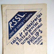 Radios Anciennes: TABLA DE EQUIVALENCIAS Y LISTA DE PRECIOS VALVULAS RECEPTORES PHILIPS. R.S.S.L.. Lote 266834009
