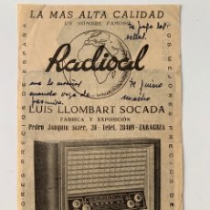 Radios antiguas: PUBLICIDAD DE RADIOAL (AÑOS 50)- FÁBRICA DE RADIOS DE ZARAGOZA. Lote 269371193