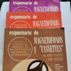Radios antiguas: LOTE 3 LIBROS ESQUEMARIO DE MAGNETOFONOS Y CASSETTES CON RADIOCASSETTES Y AUTOCASSETTES 1973 1977. Lote 275212778