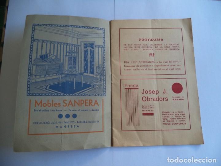 Radios antiguas: Programa Festa Major de Manresa.Any 1935.Antiga Unió Ocellera - Foto 2 - 277013633