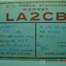 Radios antiguas: 2124 NORUEGA NORWAY NORGE QSL CARD - TARJETA RADIOAFICIONADO - AÑO 1952 MAS EN COSAS&CURIOSAS. Lote 14126573