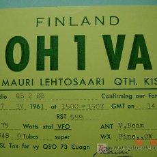 Radios antiguas: 2128 FINLANDIA FINLAND SUOMI QSL CARD - TARJETA RADIOAFICIONADO - AÑO 1961 MAS EN COSAS&CURIOSAS. Lote 8897166