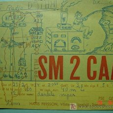 Radios antiguas: 2129 SUECIA SVERIGE SWEDEN QSL CARD - TARJETA RADIOAFICIONADO - AÑO 1954 MAS EN COSAS&CURIOSAS. Lote 8897169
