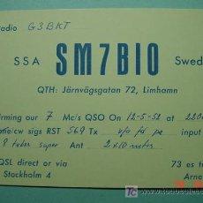 Radios antiguas: 2130 SUECIA SVERIGE SWEDEN QSL CARD - TARJETA RADIOAFICIONADO - AÑO 1952 MAS EN COSAS&CURIOSAS. Lote 5860062