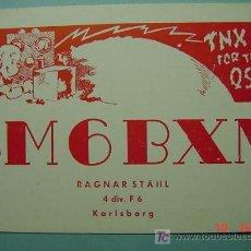 Radios antiguas: 2131 SUECIA SVERIGE SWEDEN QSL CARD - TARJETA RADIOAFICIONADO - AÑO 1951 MAS EN COSAS&CURIOSAS. Lote 10926104