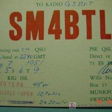 Radios antiguas: 2132 SUECIA SVERIGE SWEDEN QSL CARD - TARJETA RADIOAFICIONADO - AÑO 1951 MAS EN COSAS&CURIOSAS. Lote 41233446