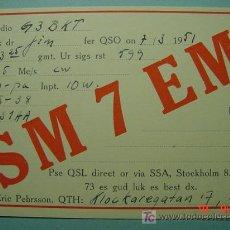 Radios antiguas: 2133 SUECIA SVERIGE SWEDEN QSL CARD - TARJETA RADIOAFICIONADO - AÑO 1951 MAS EN COSAS&CURIOSAS. Lote 8916165