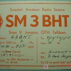 Radios antiguas: 2134 SUECIA SVERIGE SWEDEN QSL CARD - TARJETA RADIOAFICIONADO - AÑO 1951 MAS EN COSAS&CURIOSAS. Lote 8961626