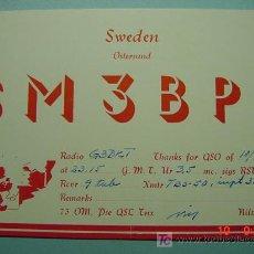 Radios antiguas: 2135 SUECIA SVERIGE SWEDEN QSL CARD - TARJETA RADIOAFICIONADO - AÑO 1950 MAS EN COSAS&CURIOSAS. Lote 5860254