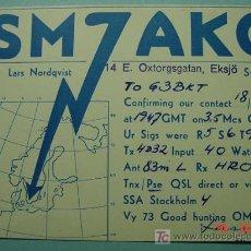 Radios antiguas: 2139 SUECIA SVERIGE SWEDEN QSL CARD - TARJETA RADIOAFICIONADO - AÑO 1953 MAS EN COSAS&CURIOSAS. Lote 10926102