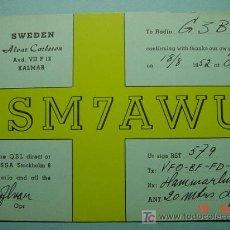 Radios antiguas: 2140 SUECIA SVERIGE SWEDEN QSL CARD - TARJETA RADIOAFICIONADO - AÑO 1952 MAS EN COSAS&CURIOSAS. Lote 8065375