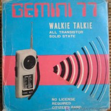 Radios antiguas: WALKIE TALKIE ALL TRANSISTOR SOLID STATE. BRAND COHAMSA. GEMINI 77. 1976. Lote 21506583