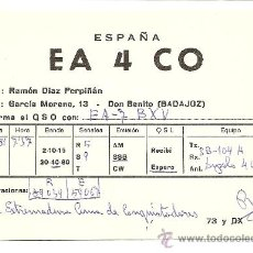 Radios antiguas: DON BENITO (BADAJOZ): TARJETA DE RADIO AFICIONADO. Lote 23126833