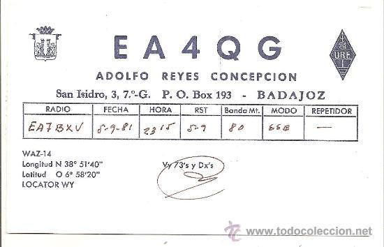 TARJETA DE RADIO AFICIONADO: BADAJOZ (Radios, Gramófonos, Grabadoras y Otros - Radioaficionados)