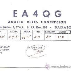 Radios antiguas: TARJETA DE RADIO AFICIONADO: BADAJOZ. Lote 23127034