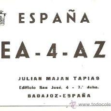 Radios antiguas: TARJETA DE RADIO AFICIONADO: BADAJOZ. Lote 23127769