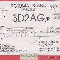 Radios Anciennes: RADIOAFICIONADO CONTROL DE ESCUCHA - ROTUMA ISLAND, DXPEDITION - 3 D 2 A G /P - 15/03/92 - T.C -228. Lote 39627079