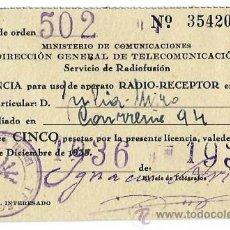 Radios antiguas: LICENCIA PARA USO DE APARATO RADIO-RECEPTOR AÑO 1936. Lote 42463959