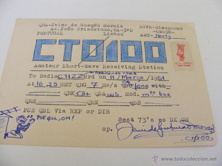 PORTUGAL QSL CARD LISBOA- TARJETA RADIOAFICIONADO - AÑO 1951 CON SELLO (Radios, Gramófonos, Grabadoras y Otros - Radioaficionados)