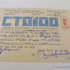 Radios antiguas: PORTUGAL QSL CARD LISBOA- TARJETA RADIOAFICIONADO - AÑO 1951 CON SELLO. Lote 43143827