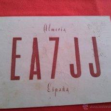 Radios antiguas: EA7JJ TARJETA RADIO AFICIONADOS QSL ALMERIA1-10-1958. Lote 43204567