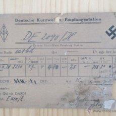 Radios antiguas: QSL 1935 ALEMANIA TERCER REICH DE2090/H TARJETA DE RADIOAFICIONADO. DEUTSCHE KURZWELLEN. RADIO. CRUZ. Lote 51457555