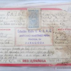 Radios antiguas: QSL FEBRERO 1936, EA2AE,ANTONIO MARTINEZ PEÑA. ZARAGOZA, TARJETA DE RADIOAFICIONADO.URE,RED ESPAÑOLA. Lote 51521982