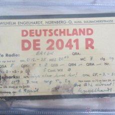 Radios antiguas: QSL 1935 ALEMANIA TERCER REICH DE2041R TARJETA DE RADIOAFICIONADO. NÜRNBERG, NUREMBERG. Lote 51522441