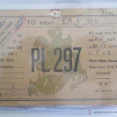 Radios antiguas: QSL TARJETA DE RADIOAFICIONADO. PL 297, POLONIA, POLAND, AÑO 1934. Lote 51522569