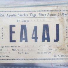 Radios antiguas: QSL EA4AJ ESTACIÓN GUARDIA CIVIL MADRID MAYO 1936,GUERRA CIVIL.AGUSTÍN SÁNCHEZ VEGA. RADIOAFICIONADO. Lote 51531784