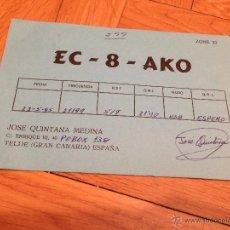 Radios antiguas: ANTIGUA ORIGINAL POSTAL TARJETA RADIOAFICIONADO QSL TELDE CANARIAS. Lote 52719495