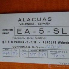 Radios antiguas: ALACUAS (VALENCIA) U.R.E. TARJETA RADIO AFICIONADOS EA5SL 01.DIC.2001. Lote 207037482