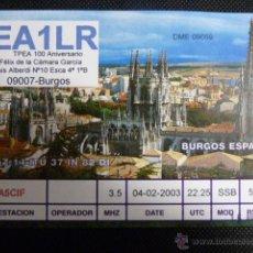 Radios antiguas: BURGOS TARJETA RADIO AFICIONADOS EA1LR 02.02.2003 . Lote 53137588