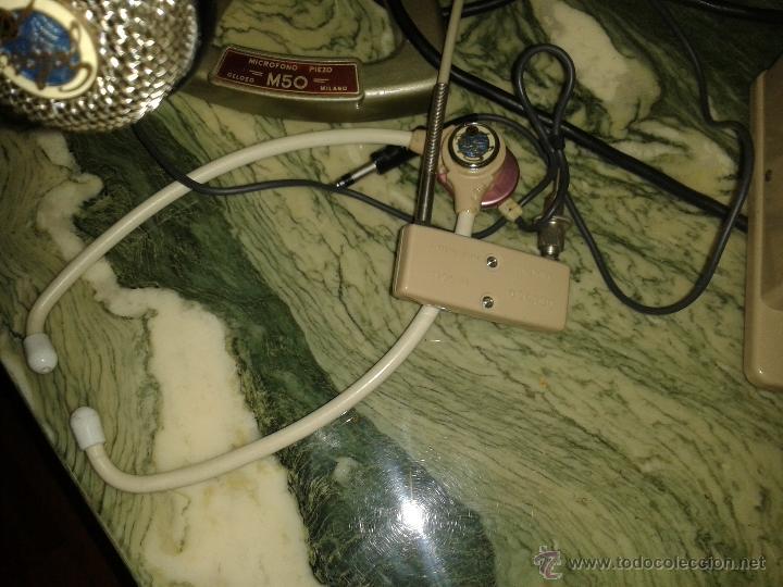 Radios antiguas: lote de microfono y auriculares de antigua emisora de radio es de la marca geloso - Foto 2 - 54066543