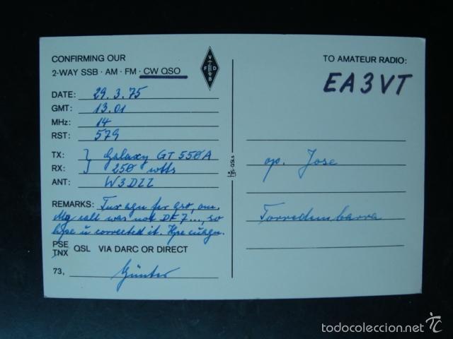 Radios antiguas: Tarjeta postal QSL radioaficionados 1975, Berlin - alemania - Foto 2 - 57534163