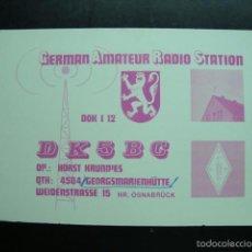 Radios antiguas: TARJETA POSTAL QSL RADIOAFICIONADOS 1974, ALEMANIA - GERMAN AMATEUR RADIO STATION. Lote 57542574