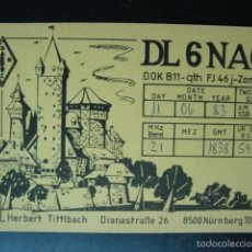 Radios antiguas: TARJETA POSTAL QSL RADIOAFICIONADOS 1983, NURNBERG, ALEMANIA - NUREMBERG. Lote 57611115