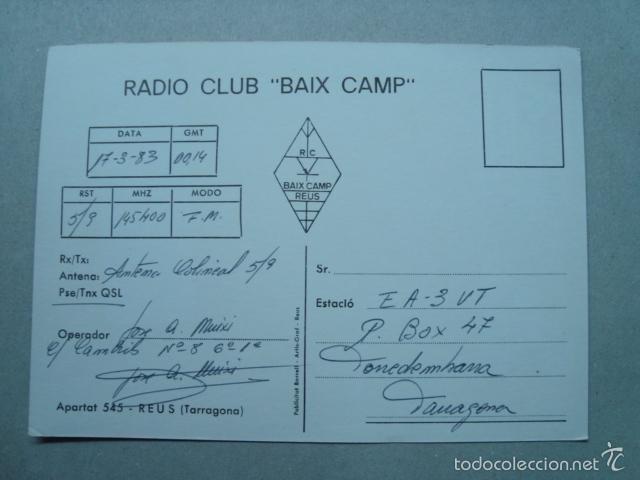 Radios antiguas: Tarjeta postal QSL radioaficionados, reus, tarragona, españa 1983 - fira expro reus 1982 - Foto 2 - 57849323