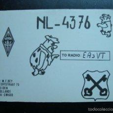 Radios antiguas: TARJETA POSTAL QSL RADIOAFICIONADOS, LEIDEN, HOLLAND - HOLANDA 1975 - LOS PICAPIEDRA. Lote 57856787