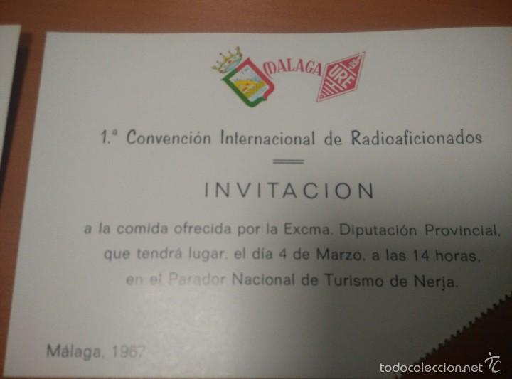 Radios antiguas: INVITACIÓNES DE VARIOS EVENTOS DE LA 1 CONVENCION INTERNACIONAL DE RADIOAFICIONA DIS DE MALAGA 1967 - Foto 2 - 58533714