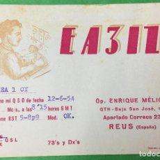 Radios antiguas: REUS - TARRAGONA - TARJETA UNIÓN RADIO AFICIONADOS - AÑO 1955 - RADIOAFICIONADOS. Lote 67614985