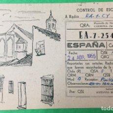 Radios antiguas: CARMONA (SEVILLA) - TARJETA UNIÓN RADIOFICIONADOS - URE - AÑO 1955 - RADIOAFICIONADOS. Lote 67615209
