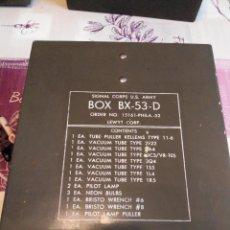 Radios antiguas: CAJA U.S. ARMY BX-53D CON VÁLVULAS. Lote 125347992