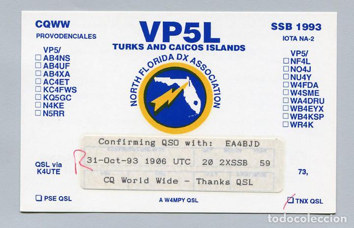 QSL RADIOAFICIONADO DX - VP5L ISLAS TURCOS Y CAICOS - RARA (Radios, Gramófonos, Grabadoras y Otros - Radioaficionados)