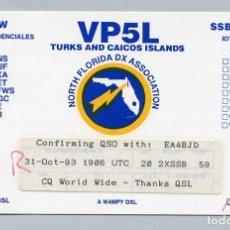 Radios antiguas: QSL RADIOAFICIONADO DX - VP5L ISLAS TURCOS Y CAICOS - RARA. Lote 135529326
