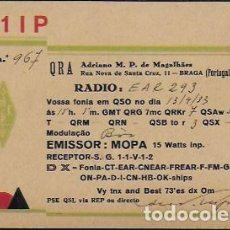 Radio antiche: QSL CARD. - CT1IP. ADRIANO M.P. DE MAGALHAES. BRAGA. PORTUGAL - EAR 293.[ BARCELONA] 1933. Lote 135549782