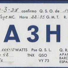 Radios antiguas: QSL CARD. EA3HM. J. JANER. BARCELONA - [SALVADOR GARRETA. BARCELONA,] 1948. Lote 135794174
