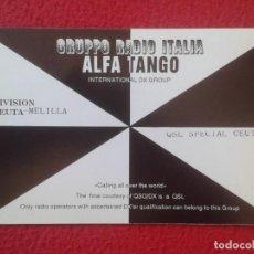 Radios antiguas: POSTAL TYPE POST CARD QSL RADIOAFICIONADOS RADIO AMATEUR GRUPPO RADIO ALFA TANGO CEUTA MELILLA VER. Lote 160230522