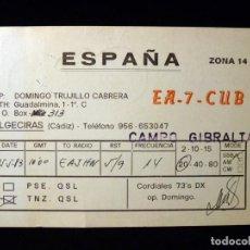 Radios antiguas: TARJETA POSTAL QSL RADIOAFICIONADO. EA7CUB - CAMPO GIBRALTAR (CÁDIZ), 1983. RADIO AFICIONADO. Lote 163971274